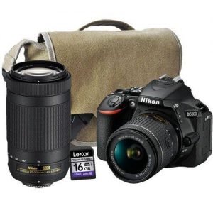 Nikon D5600 + AF-P 18-55MM VR Lens + AF-P 70-300MM DX Lens + Bag + 16GB Card