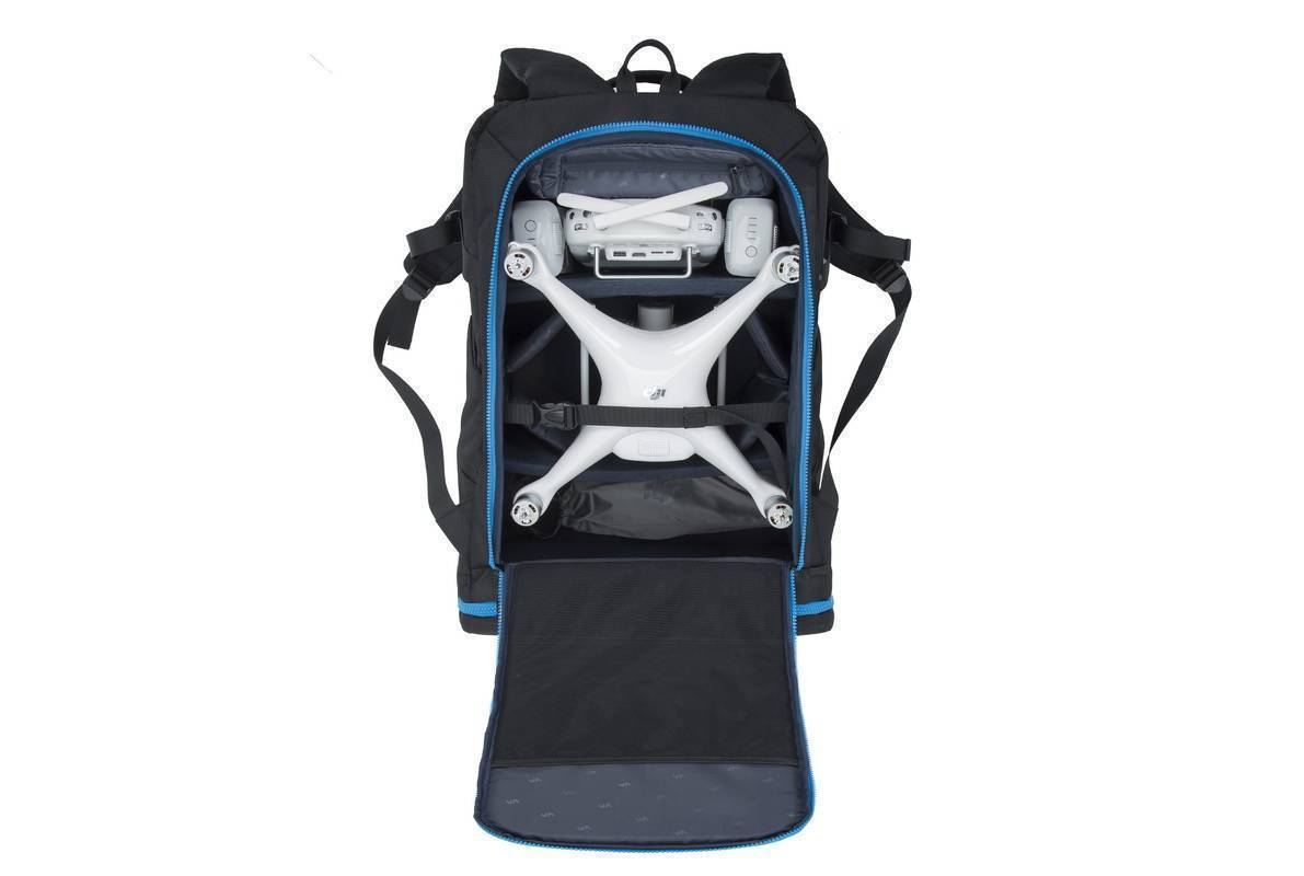 RivaCase 7890 Green Mantis Series Drone Backpack large and 16″ laptop Black