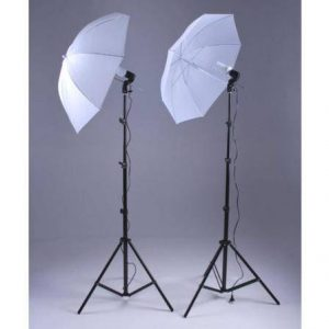 2pcs Spiral 1x 85watt Lights with Translucent Umbrellas