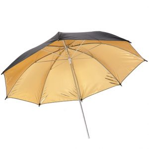 E-Photographic 100cm PRO Black and Gold Reflective Umbrella 8mm Tube